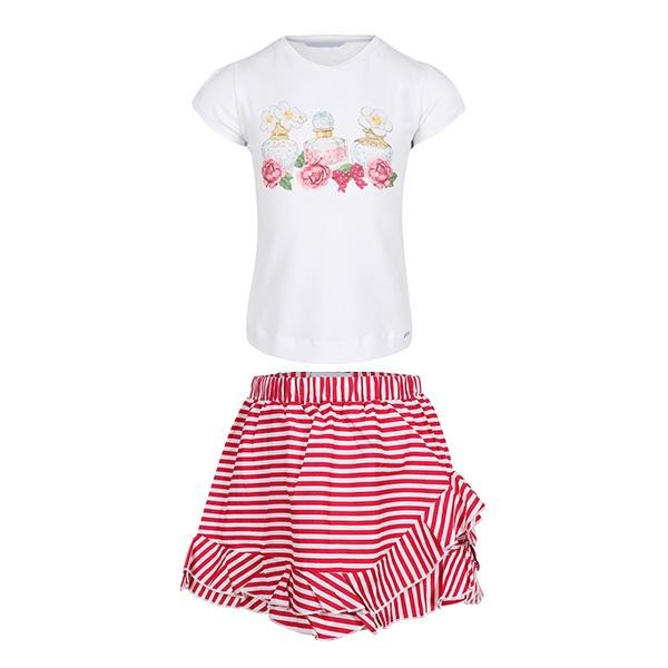 GIRLS PINK AND WHITE STRIPED SKIRT SET - ruffntumblekids