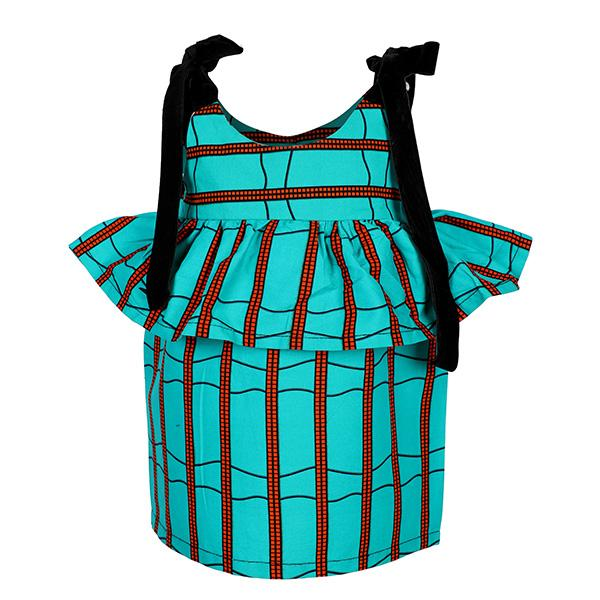 BABY GIRLS TURQUOISE ANKARA DRESS