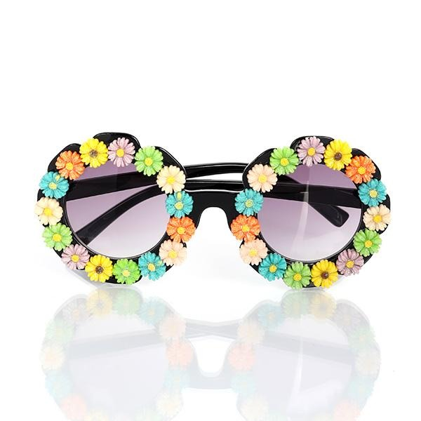GIRLS ROUND SUNGLASSES WITH FLOWERS - ruffntumblekids