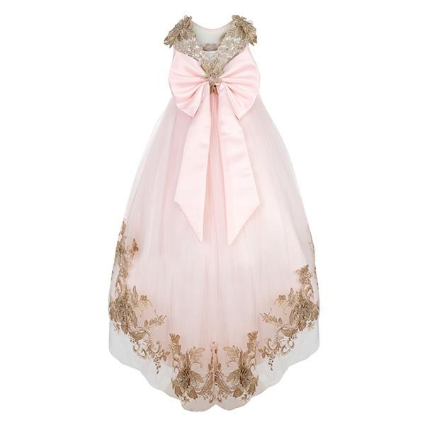 GIRLS PINK EMBROIDERED HI-LOW DRESS - ruffntumblekids