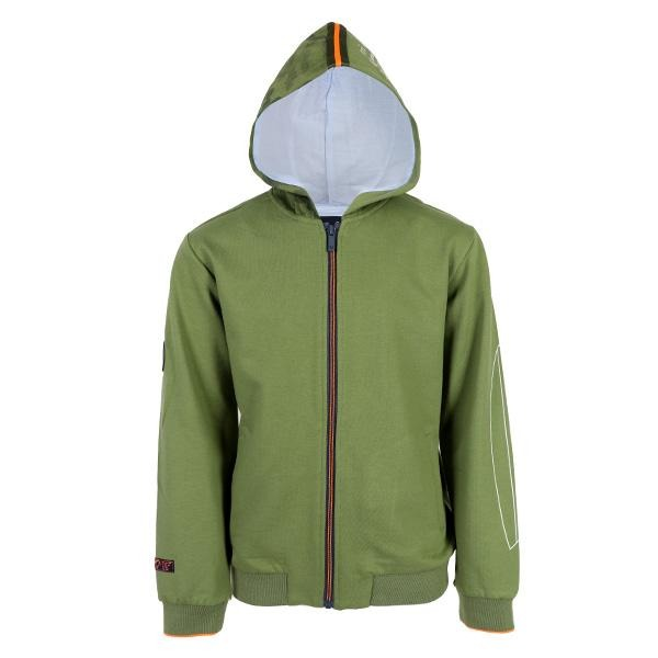 BOYS GREEN LONG SLEEVES TWILL HOODIE JACKET - ruffntumblekids