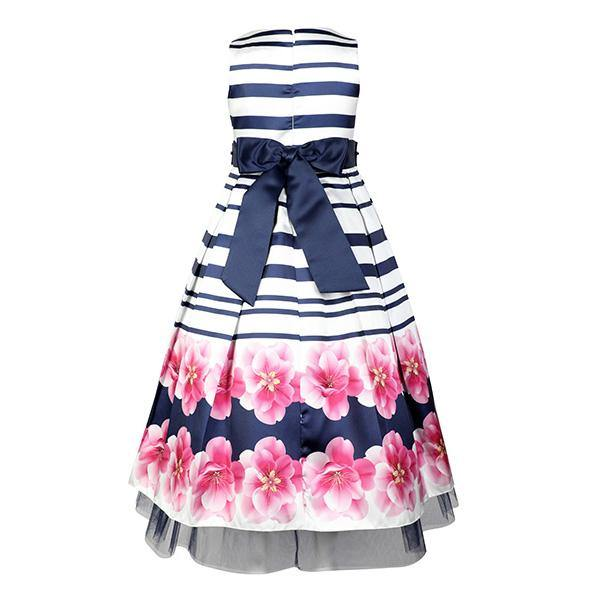 GIRLS FLORAL PLEATED DRESS - NAVY AND PINK - ruffntumblekids