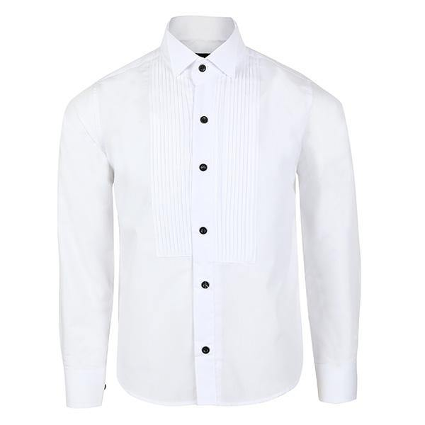 BOYS WHITE SHIRT WITH WING COLLAR - ruffntumblekids