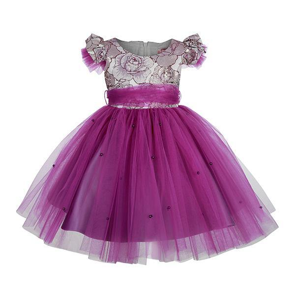 GIRLS FLORAL TULLE BALL DRESS - PURPLE - ruffntumblekids