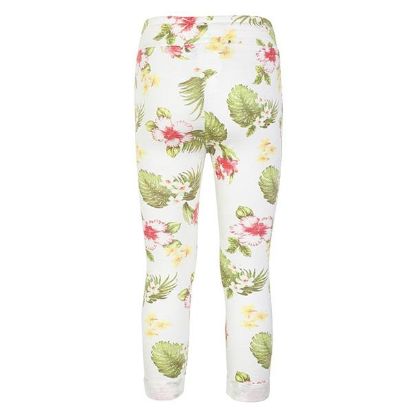 GIRLS WHITE FLORAL DESIGNED PANTS - ruffntumblekids