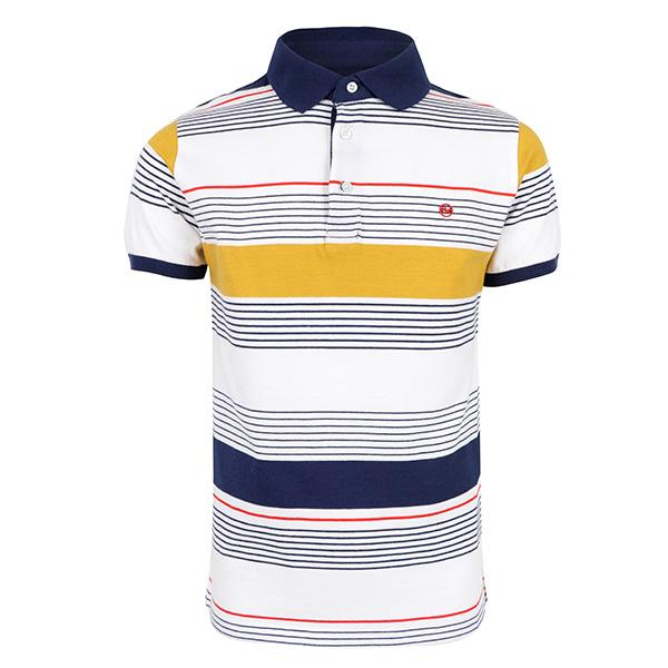 BOYS INDIGO SHORT SLEEVES STRIPE POLO TEE - ruffntumblekids