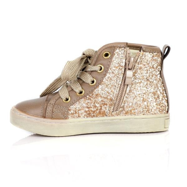 GIRLS BROWN GLITTER HIGH SNEAKERS - ruffntumblekids