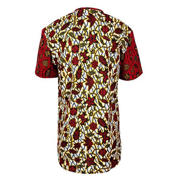 BOYS MIXED ANKARA  SHIRT - WINE - ruffntumblekids