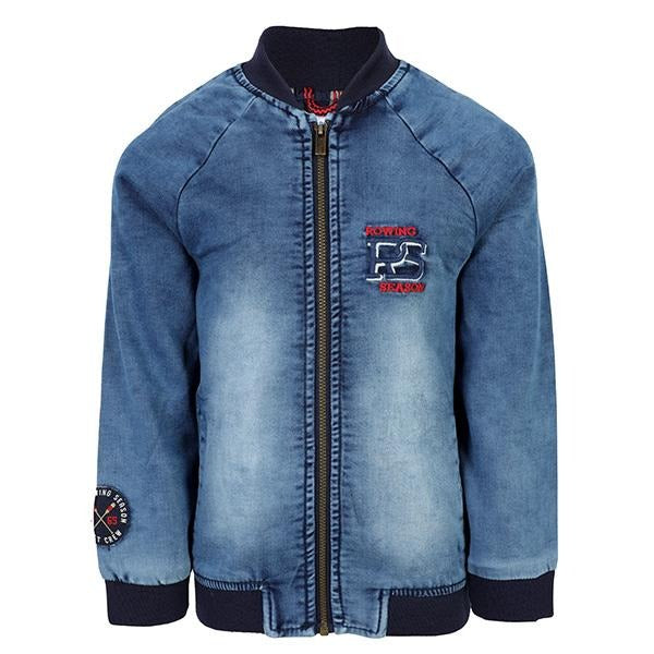 BOYS DENIM BLUE LONG SLEEVES  ZIPPER JACKET - ruffntumblekids