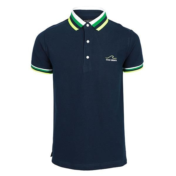 BOYS NAVY SHORT SLEEVES PRINT POLO - ruffntumblekids