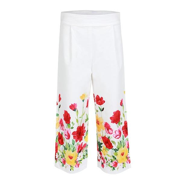GIRLS WHITE FLORAL PRINT LONG PANTS - ruffntumblekids