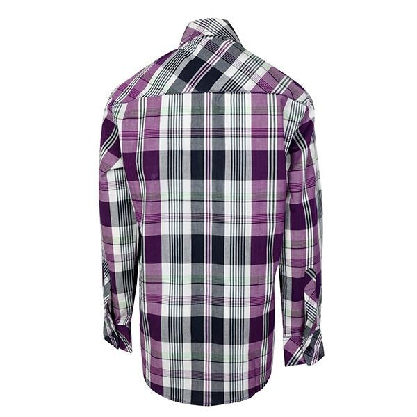 BOYS GREY AND PURPLE CHECK LONG SLEEVES SHIRT - ruffntumblekids