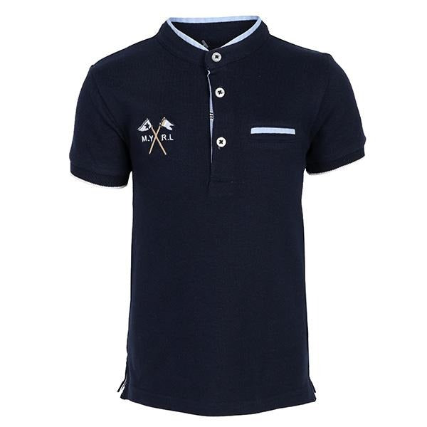 BOYS NAVY SHORT SLEEVES MAO NECK POLO - ruffntumblekids