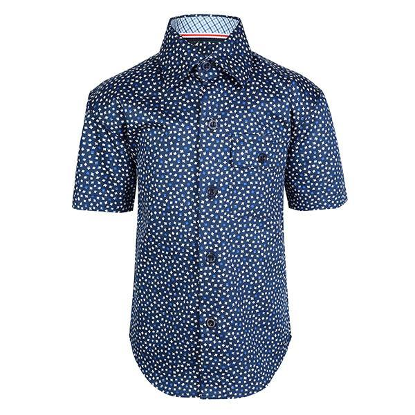 BLUE FLORAL SHORT SLEEVE SHIRT - ruffntumblekids