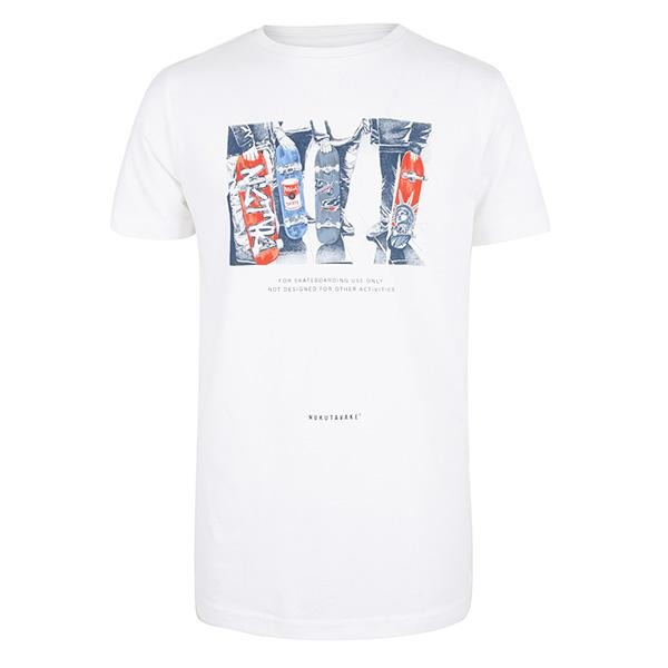 BOYS WHITE SHORT SLEEVES SKATER PRINT T-SHIRT - ruffntumblekids