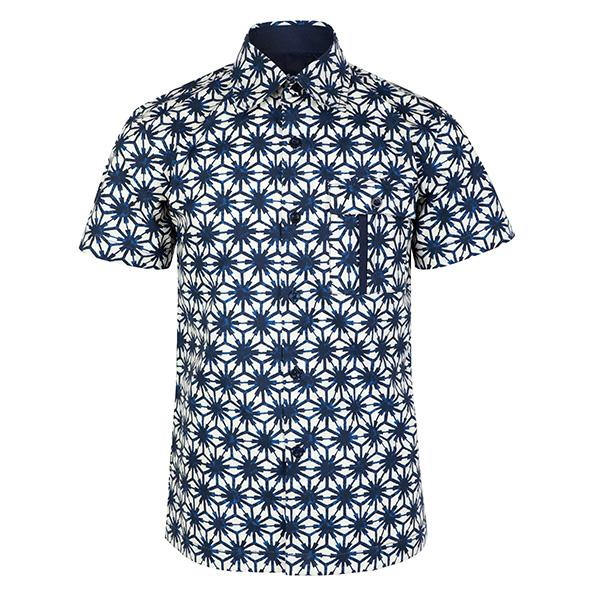 BOYS WHITE AND NAVY BLUE ANKARA SHIRT - ruffntumblekids