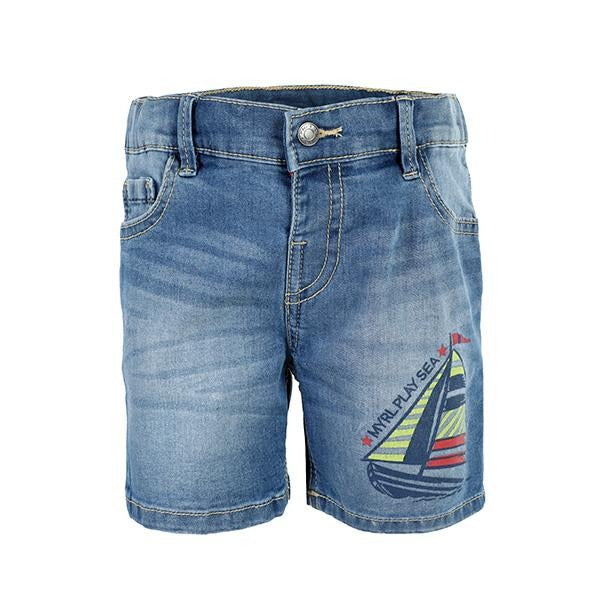 BABY BOYS DENIM BLUE PRINTED SHORTS - ruffntumblekids