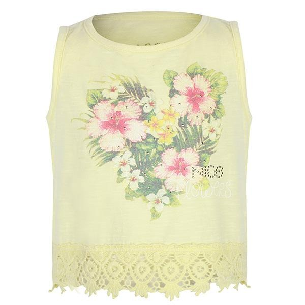 GIRLS YELLOW FLORAL DESIGN TANK TOP