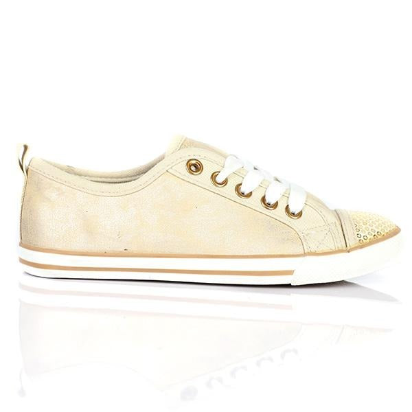 GIRLS SHINE AND GOLD LOW TOP SNEAKER - ruffntumblekids