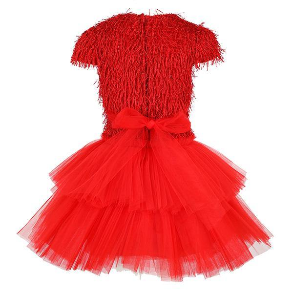GIRLS RED TASSLE TOP TULLE DRESS - ruffntumblekids
