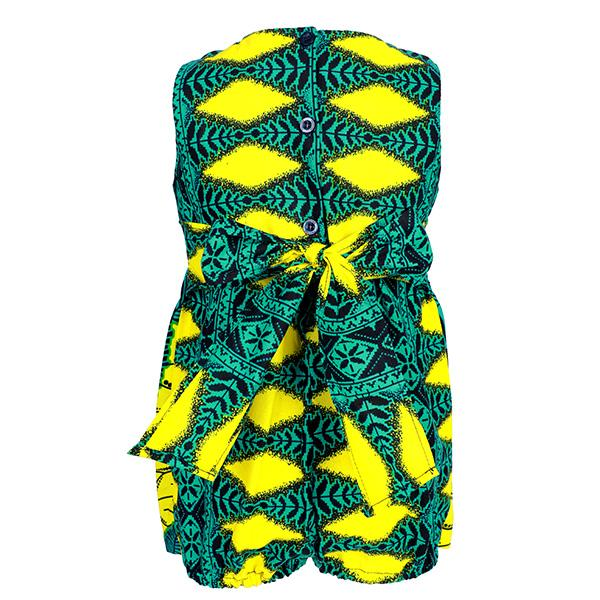 GIRLS GREEN BABY ANKARA ROMPER DRESS - ruffntumblekids