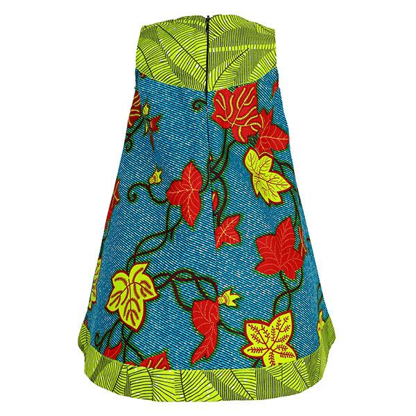 GIRLS LEMON GREEN AND BLUE ANKARA DRESS - ruffntumblekids