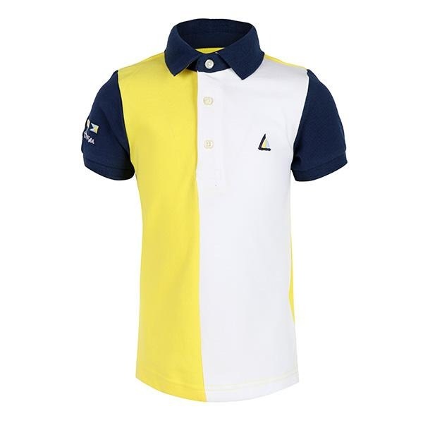 BOYS YELLOW MULTI COLOR-BLOCK POLO - ruffntumblekids