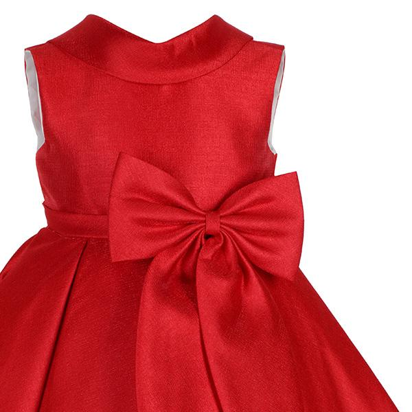GIRLS RED PLEATED DRESS WITH BOW