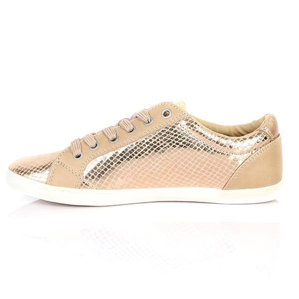 GIRLS BEIGE COPPER LOW SNEAKERS - ruffntumblekids