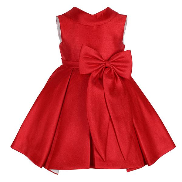 GIRLS RED PLEATED DRESS