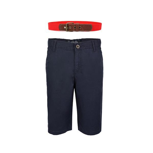 NAVY BLUE CHINOS SHORT AND RED BELT BUNDLE - ruffntumblekids