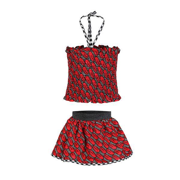 BABY GIRLS FLARE SKIRT & BLOUSE SET - RED - ruffntumblekids