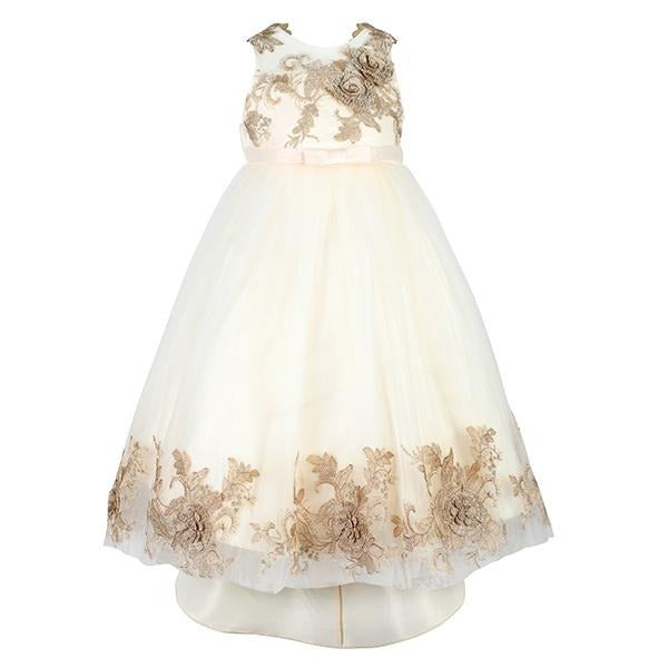GIRLS GOLD EMBROIDERED HI-LOW DRESS - ruffntumblekids