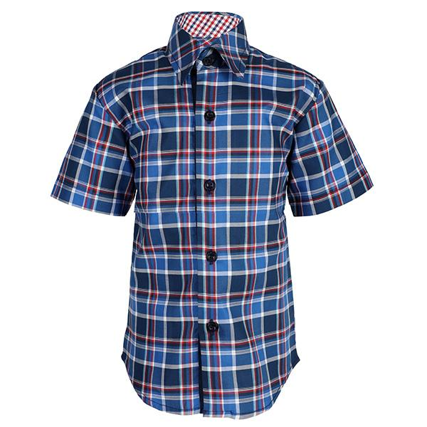 BOYS BLUE SHORT SLEEVE PLAID SHIRT - ruffntumblekids