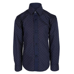BOYS NAVY LONG SLEEVES SOLID PRINT SHIRT - ruffntumblekids