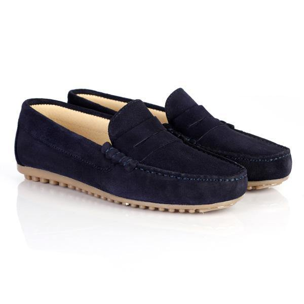 BOYS NAVY SUEDE FORMAL MOCCASIN - ruffntumblekids