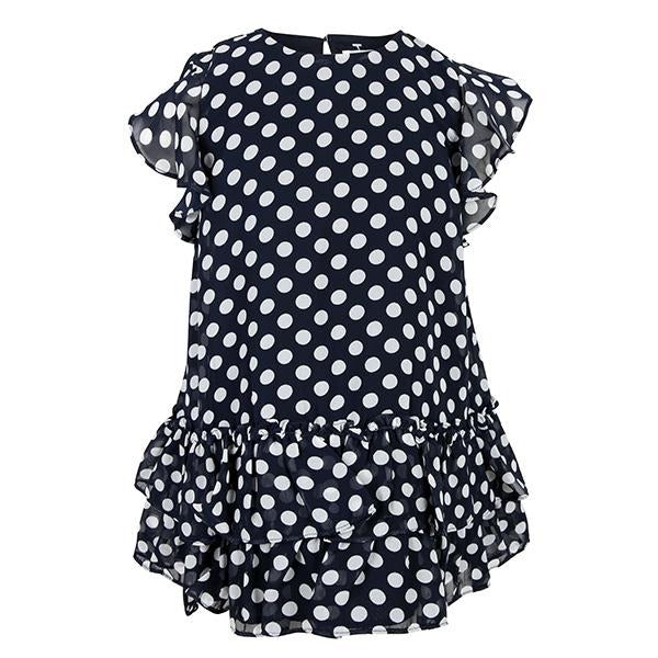 GIRLS NAVY POLKA DOT RUFFLED DRESS - ruffntumblekids