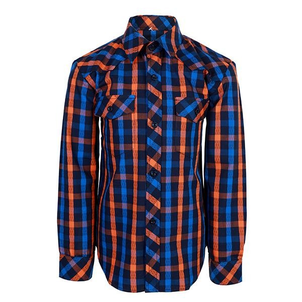BOYS BLUE DOUBLE POCKET PLAID SHIRT - ruffntumblekids