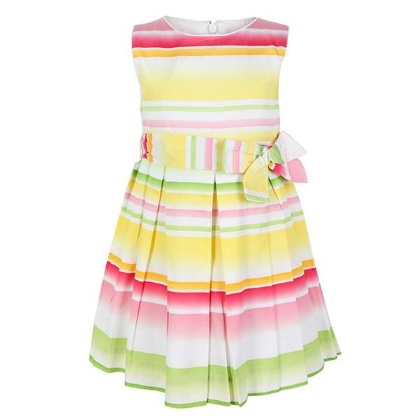 GIRLS YELLOW STRIPE PLEAT BOW DRESS - ruffntumblekids