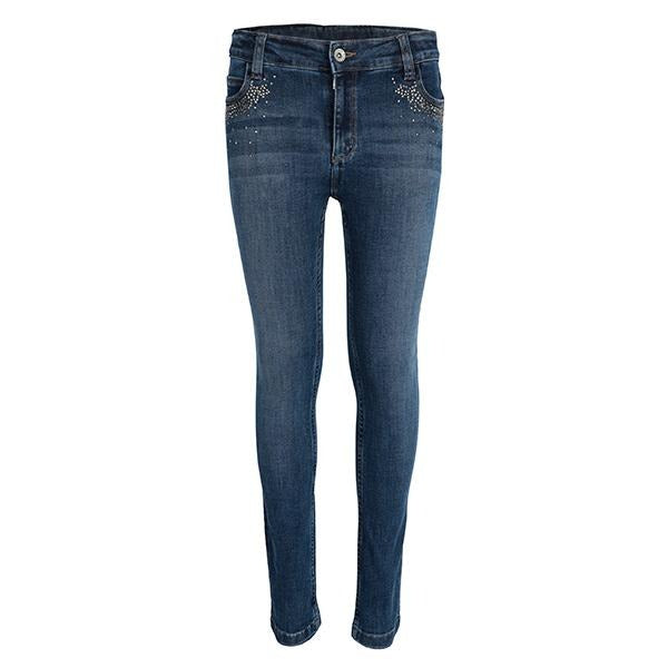 GIRLS DENIM BLUE SLIM FIT PANTS - ruffntumblekids