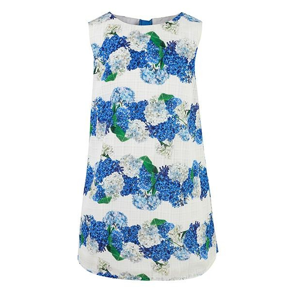 GIRLS BLUE A-LINE FLORAL DRESS - ruffntumblekids