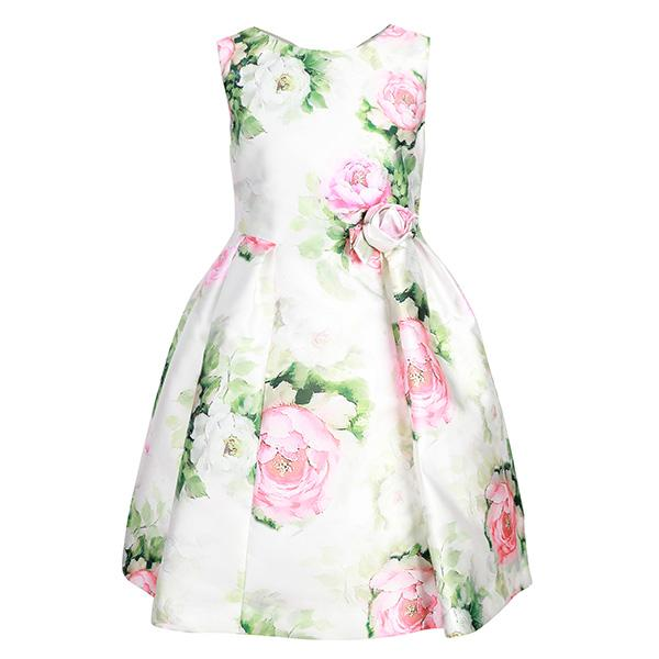 GIRLS ROSE FLORAL PRINT MIKADO DRESS - ruffntumblekids