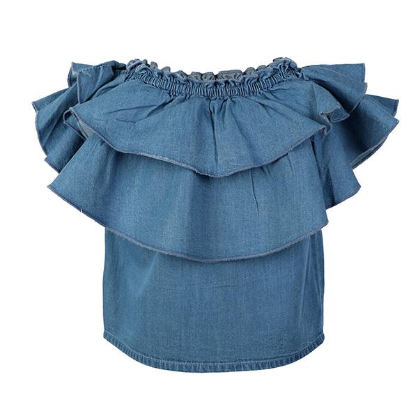 GIRLS DENIM TIERED LOOSE BLOUSE - ruffntumblekids