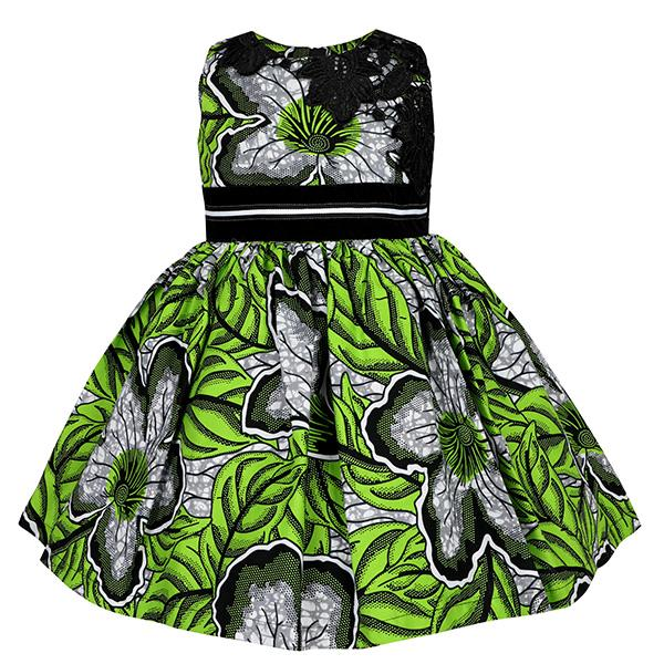 GIRLS GREEN LACE INSERT ANKARA DRESS - ruffntumblekids