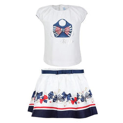GIRLS WHITE STYLE TOP AND SKIRT SET - ruffntumblekids
