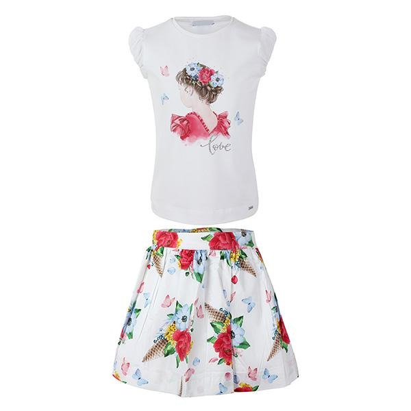 GIRLS FUCHSIA AND WHITE FLORAL SKIRT SET - ruffntumblekids