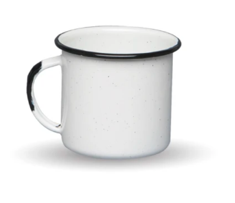 "Made In Mexico this is an authentic Mexican white enamel ""peltre"" coffee or tea mug perfect for home or camping."