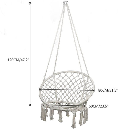 Hammock Chair Macrame Swing, Hanging Chair for Reading/Leisure, 330 Pound Capacity