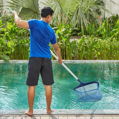 Pool Skimmer Net, Heavy Duty Leaf Rake Cleaning Tool, Fine Mesh Net Bag Catcher