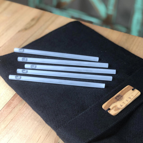 4PC OF REUSABLE ECO-FRIENDLY HANDMADE GLASS STRAWS